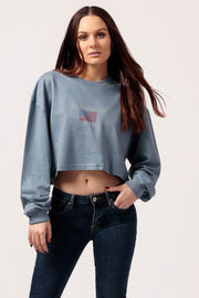 MILK MONEY Women's Cropped LA Sweatshirt Blue