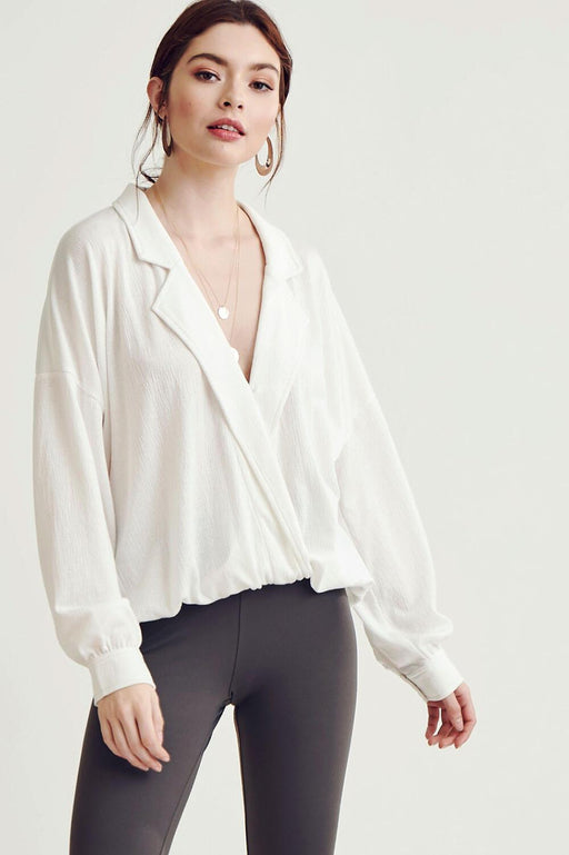 MILK MONEY Blazer Cut V-Neck Top White Womens