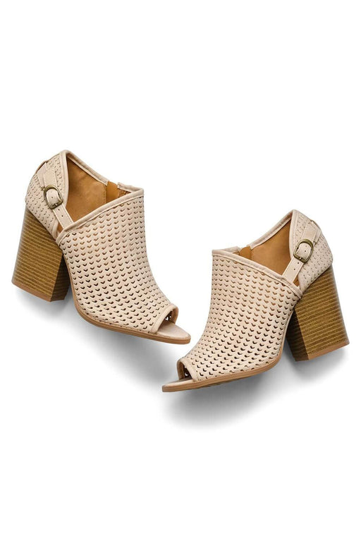 MILK MONEY Womens tan Peep Toes Boots