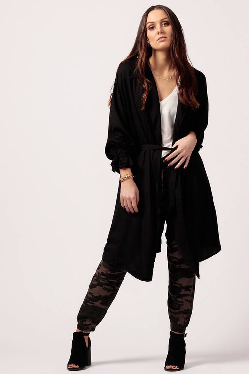 MILK MONEY Womens Black Trench tie front jacket