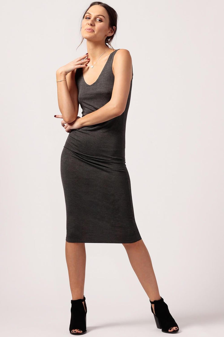 MILK MONEY Womens Grey Jersey Dress
