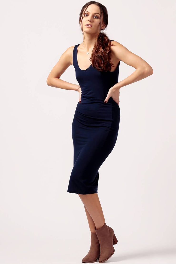 MILK MONEY Womens Navy Jersey Dress