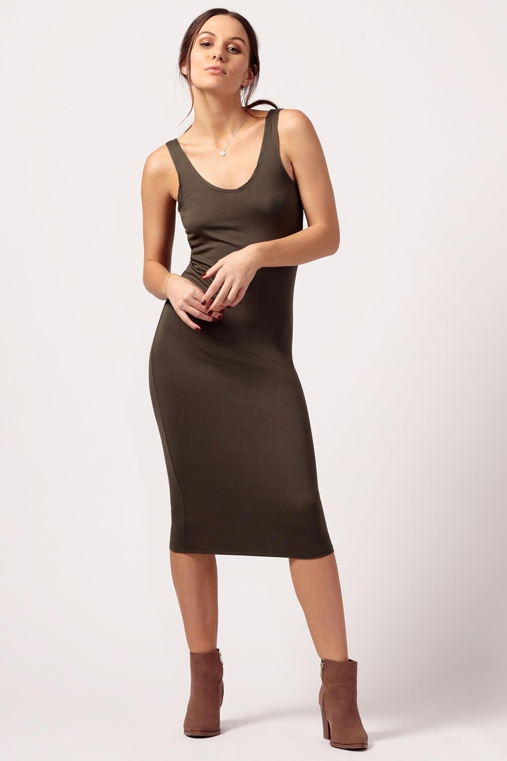 MILK MONEY Womens Olive Jersey Dress