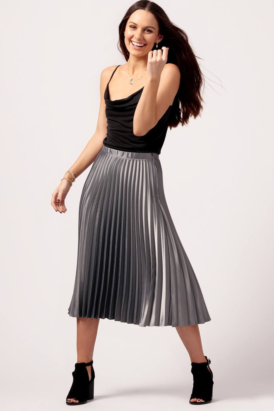 MILK MONEY Womens Silver Pleated Skirt