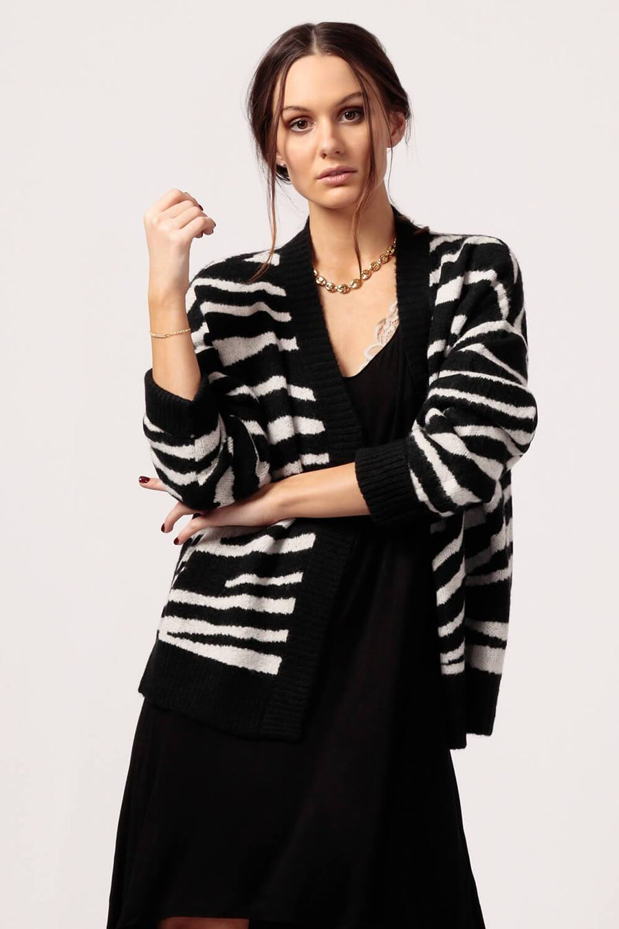 MILK MONEY Womens Zebra Open Front Cardigan