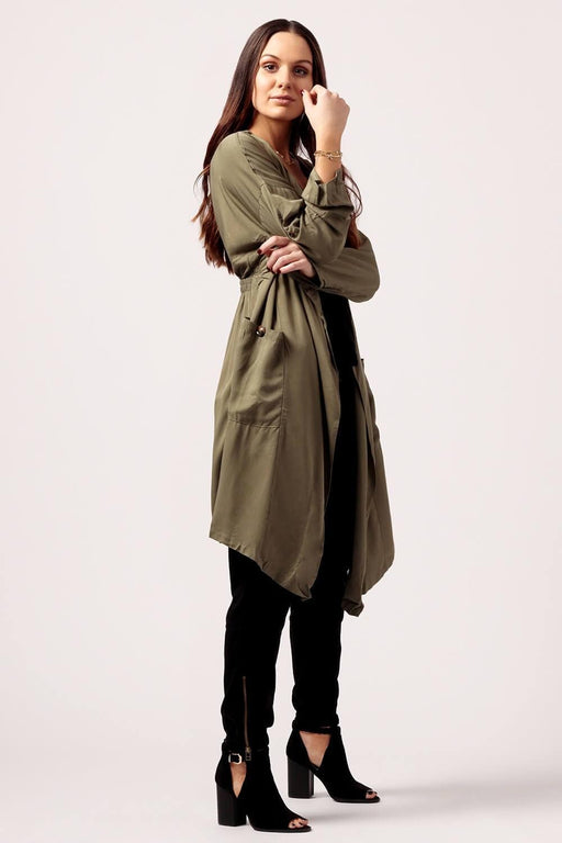 MILK MONEY Womens long duster jacket olive