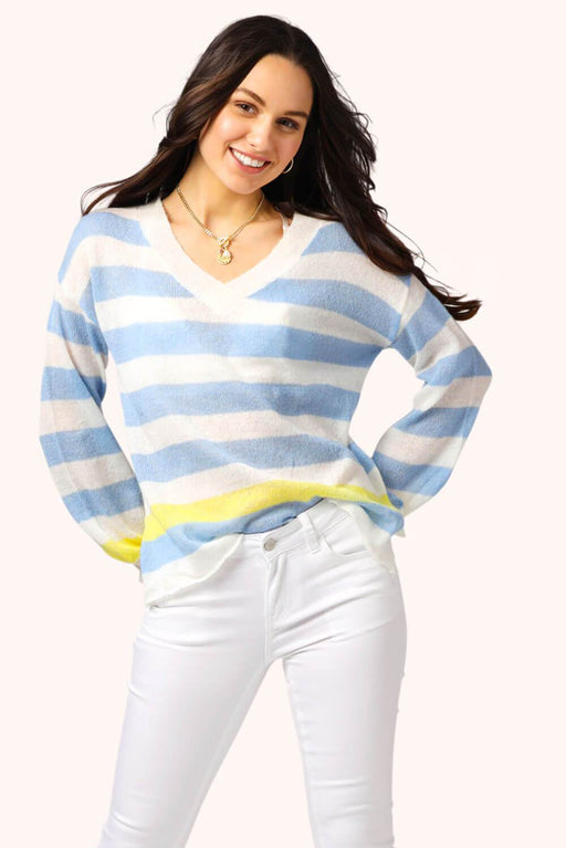Madison V-Neck Striped Sweater White Blue MILK MONEY