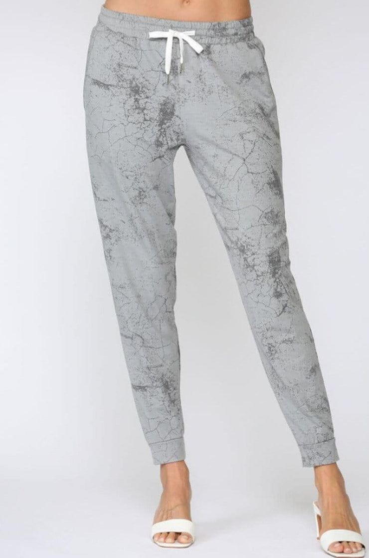 Marble Tie Dyed Joggers grey front MILK MONEY
