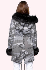 Marianna Camo Faux Fur Parka grey back MILK MONEY
