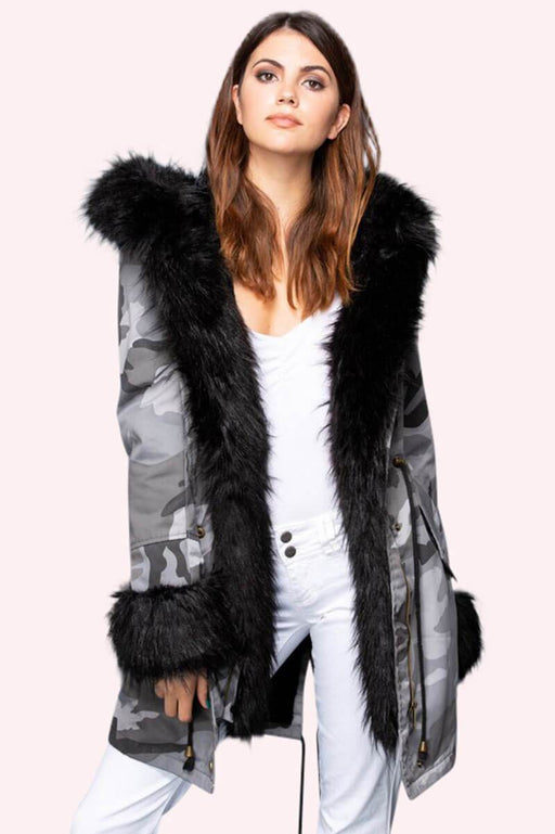 Marianna Camo Faux Fur Parka grey front MILK MONEY