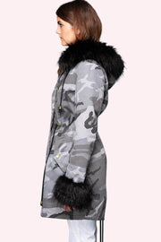 Marianna Camo Faux Fur Parka grey side MILK MONEY