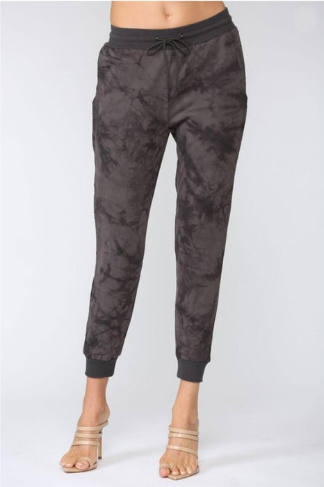 Max Raw Edge Tie Dye Joggers charcoal front MILK MONEY