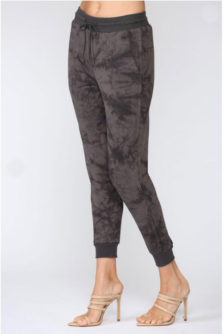 Max Raw Edge Tie Dye Joggers charcoal side MILK MONEY
