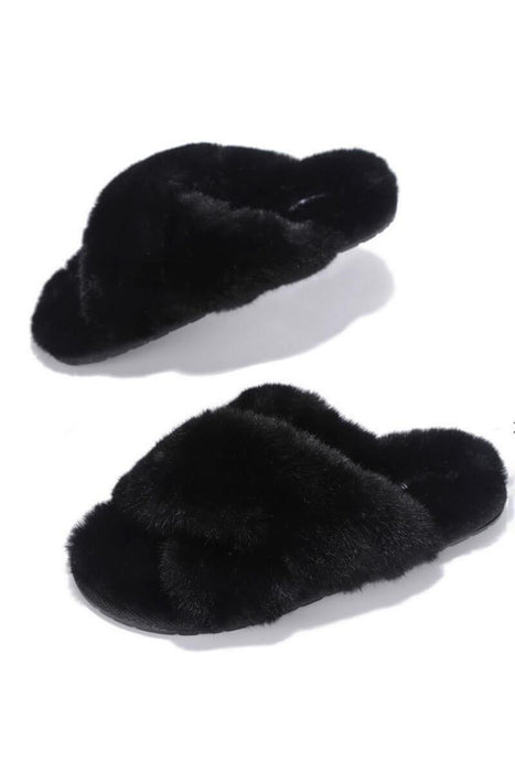 Mayberry Faux Fur Slippers black MILK MONEY