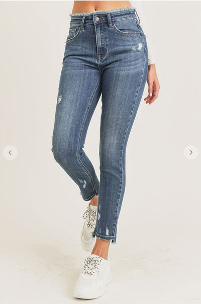Mid Rise Skinny Frayed Waist Jeans blue front MILK MONEY
