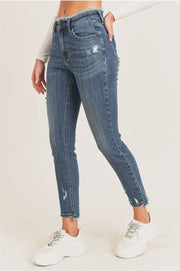 Mid Rise Skinny Frayed Waist Jeans blue side MILK MONEY