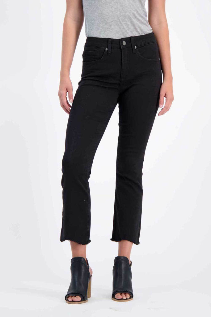 Milk Money High-Rise Cropped Flared Jeans Black - MILK MONEY