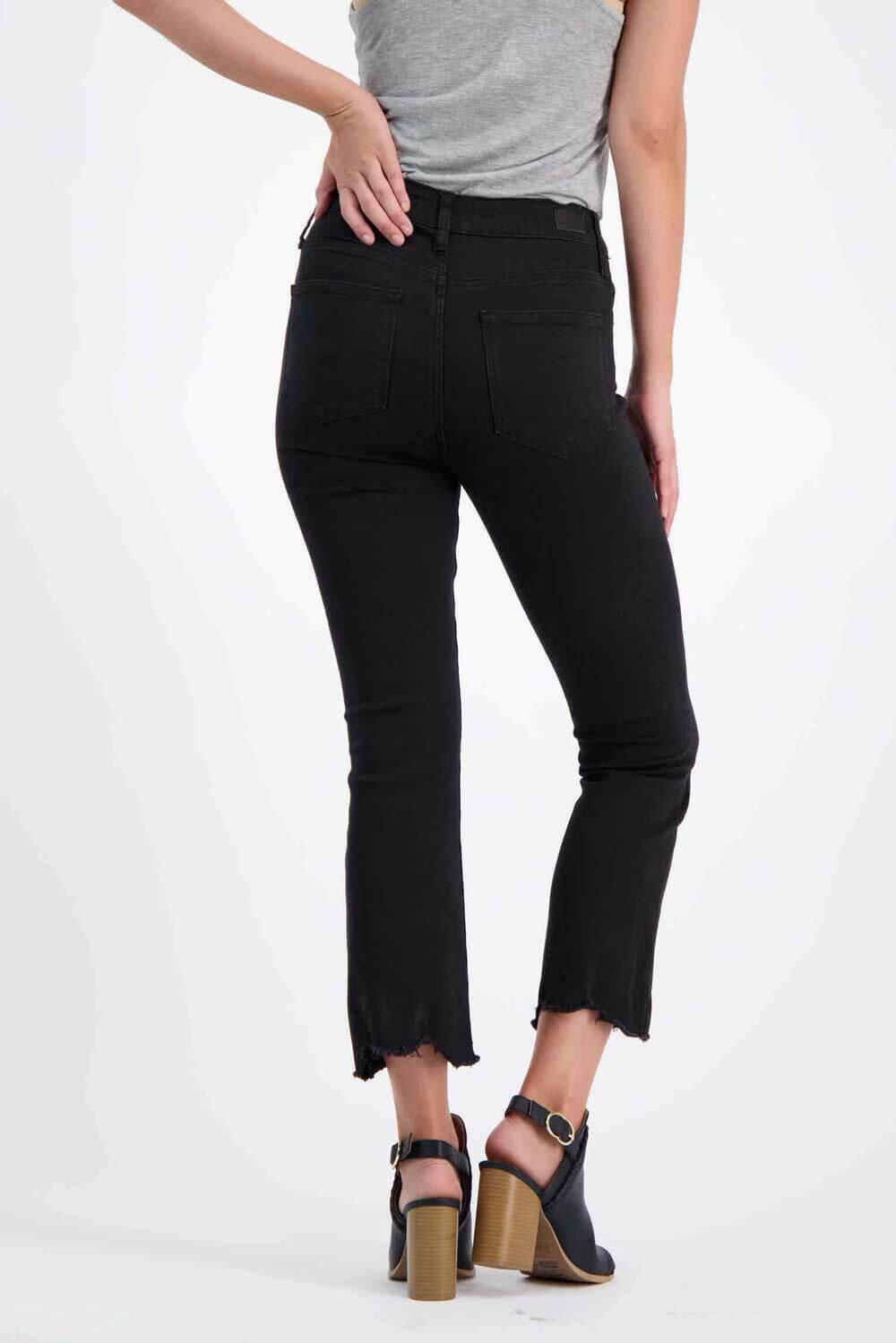 Milk Money High-Rise Cropped Flared Jeans Black back- MILK MONEY