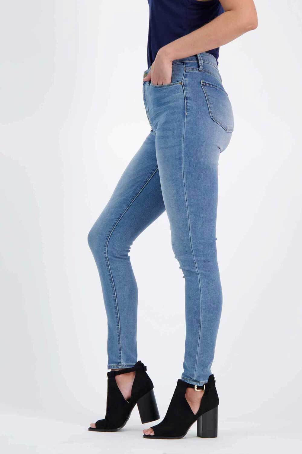 Milk Money High-Rise Skinny Jeans blue side - MIlK MONEY