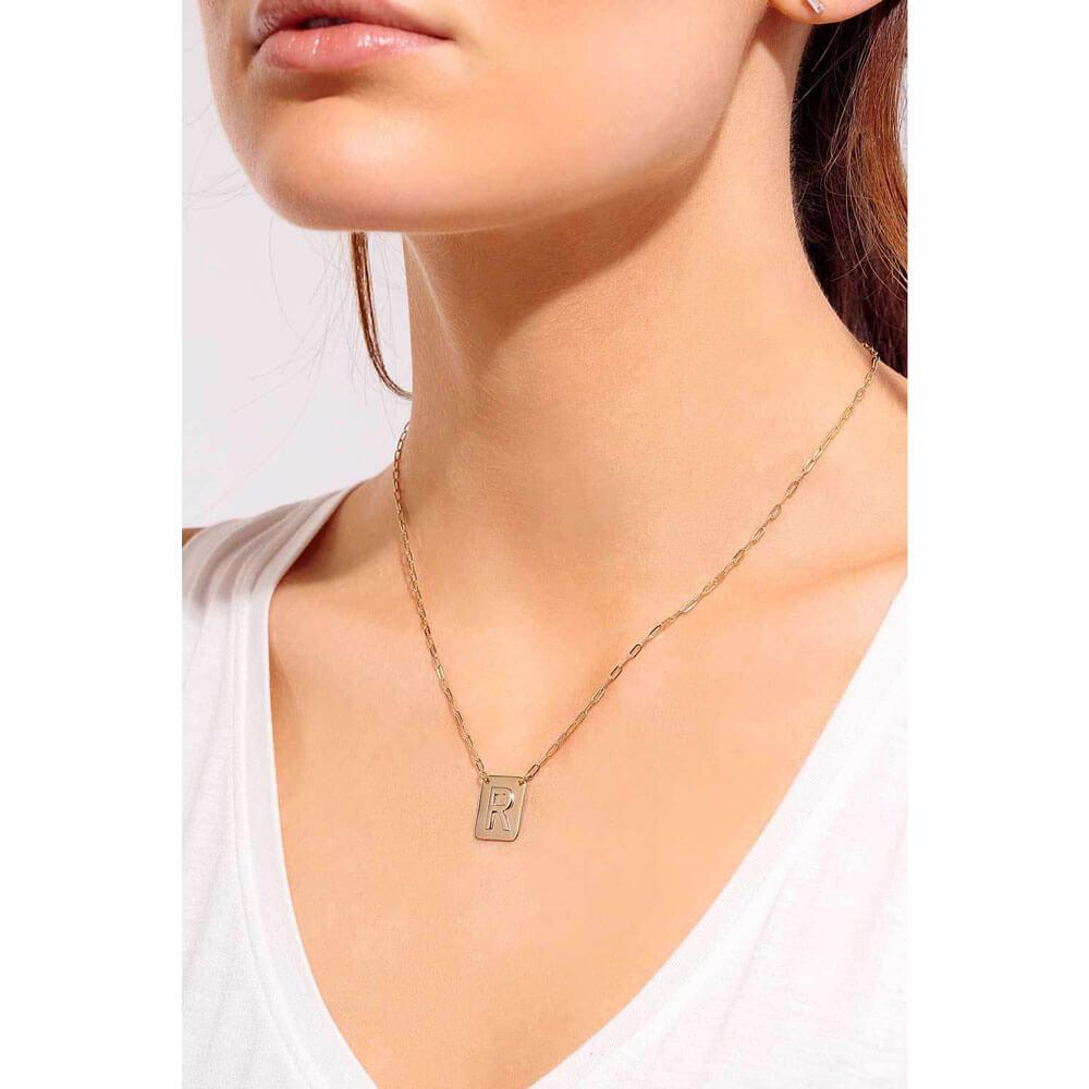 Single Initial Charm Necklace Model - MILK MONEY