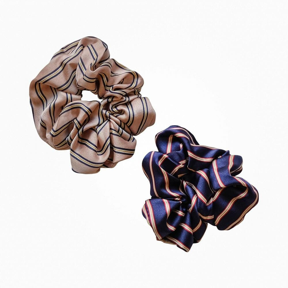 Classic Silk Striped Scrunchie MILK MONEY
