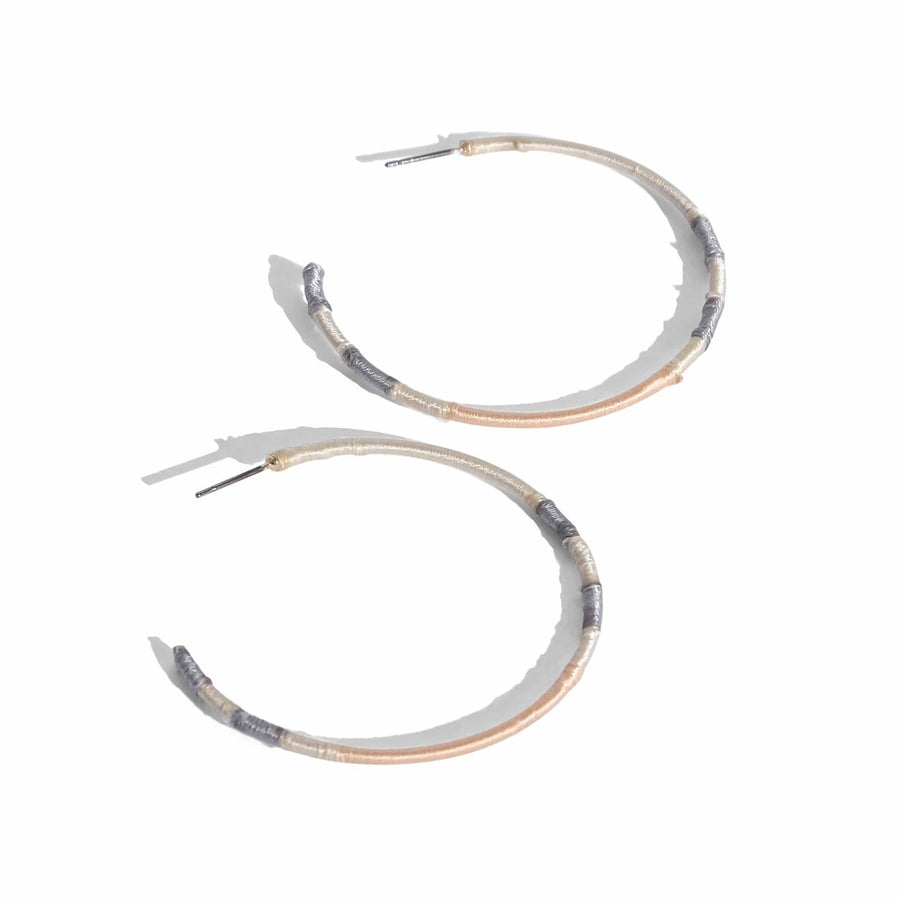 Sylvie Thin Thread Wrapped Hoop Earrings