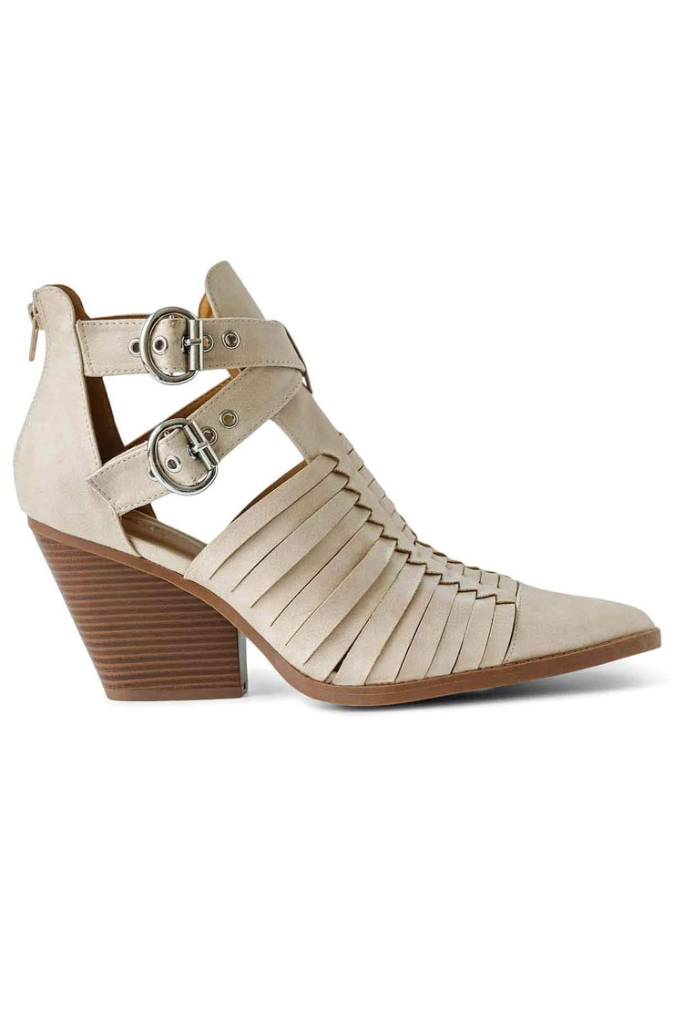 Womens Beige heel Strappy Bootie side