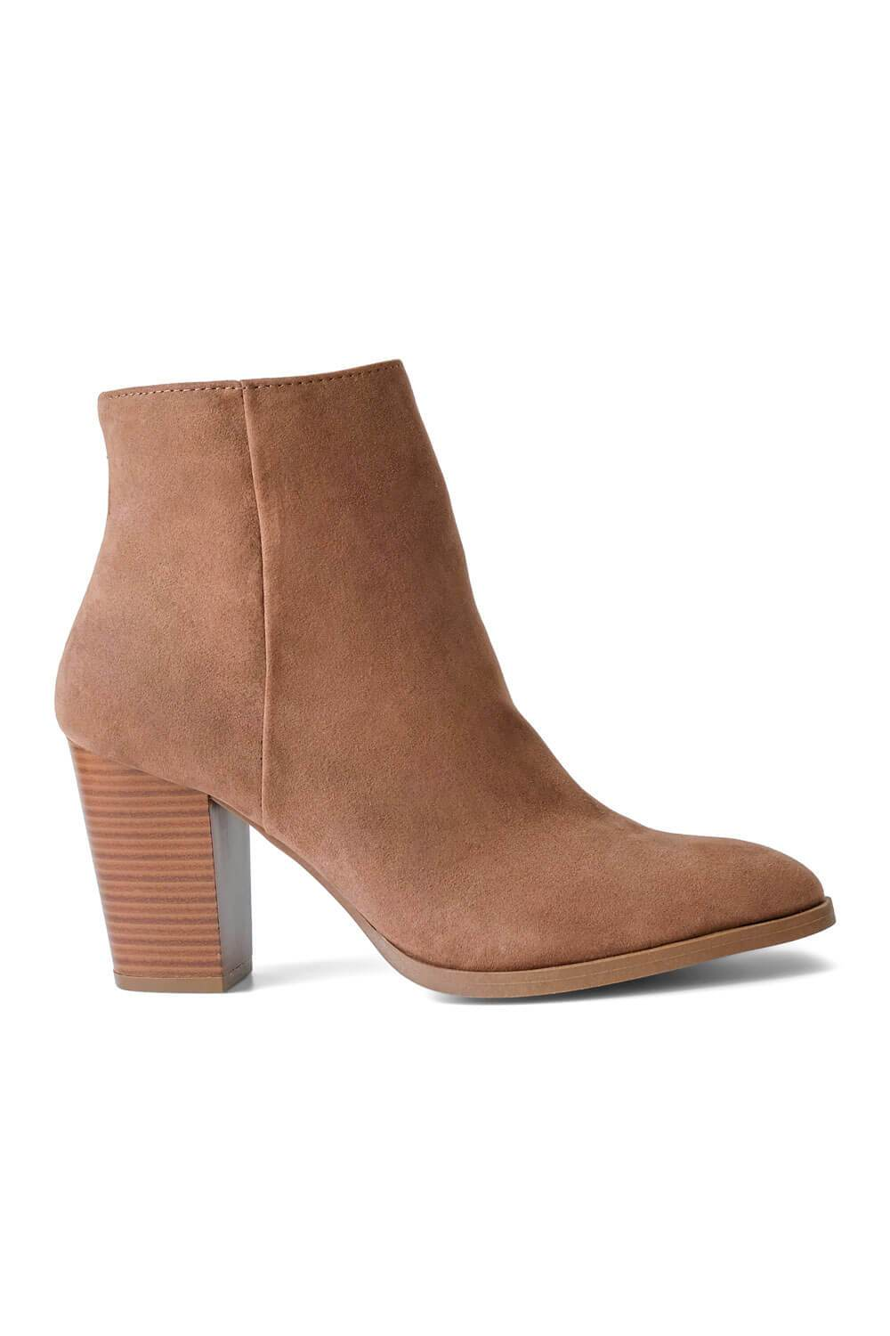 MILK MONEY Womens Brown Suede Boots Side