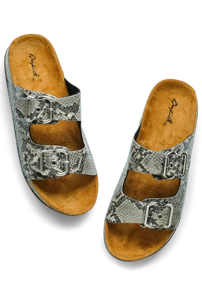 Millie Snakeskin Sandal grey - MILK MONEY