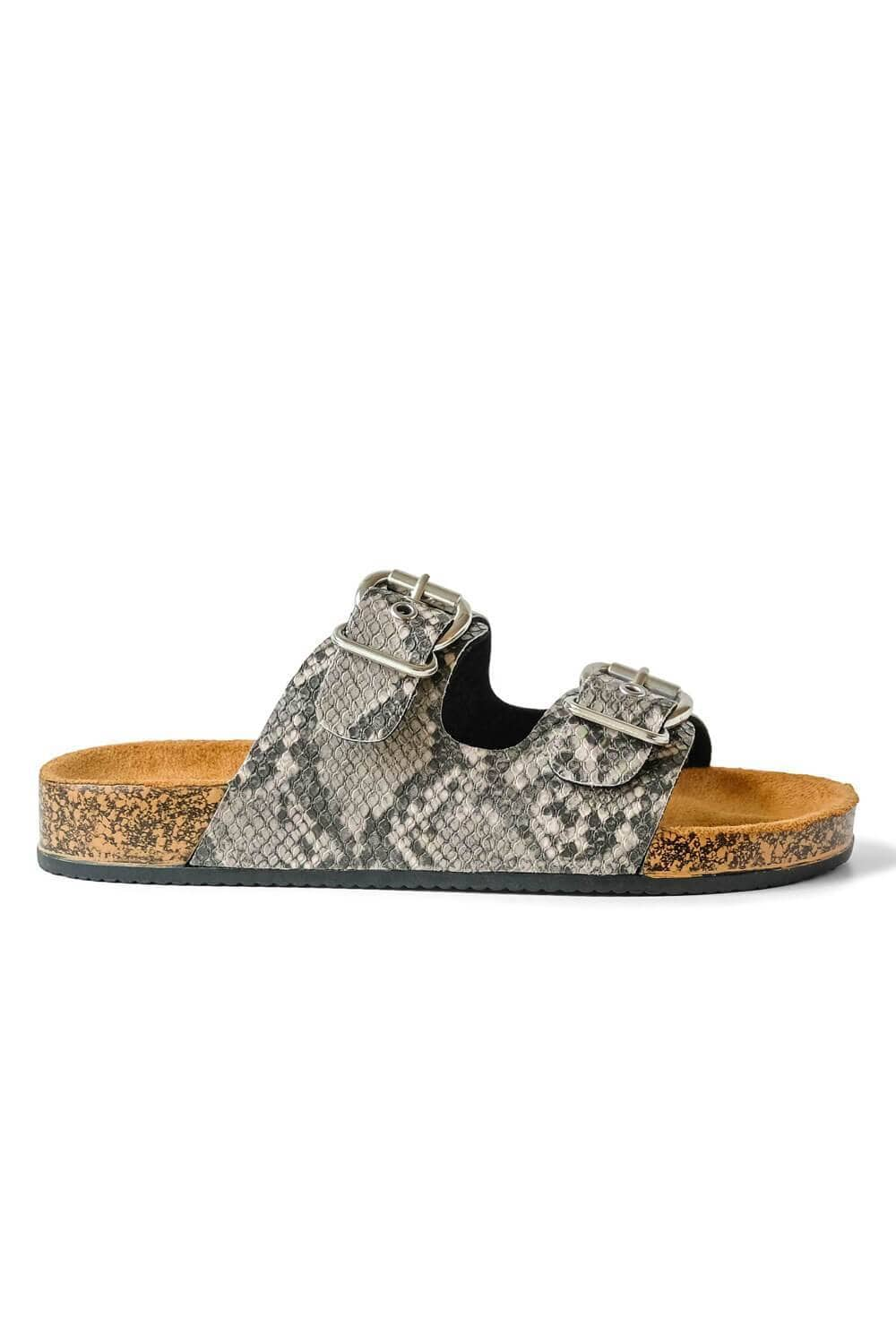 Millie Snakeskin Sandal Grey side - MILK MONEY