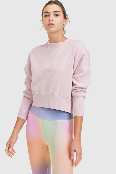 Mineral-Washed Fleece Cropped Pullover periwinkle mILK MONEY