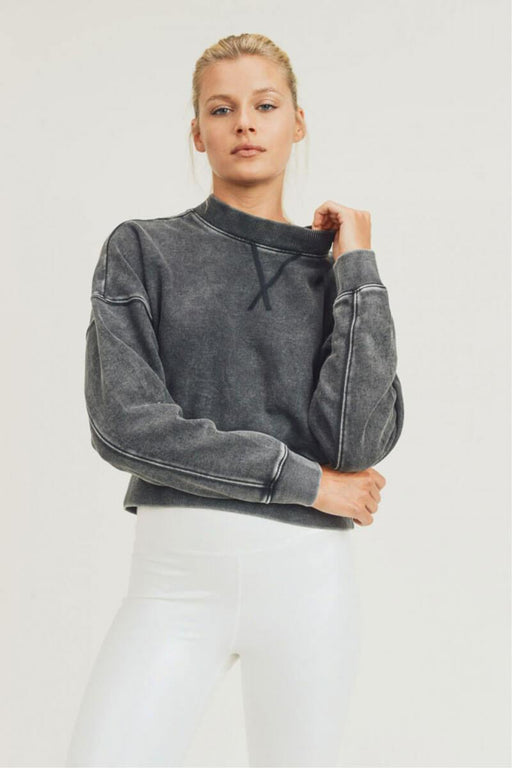 Mineral-Washed Fleece Cropped Pullover black front MILK MONEY