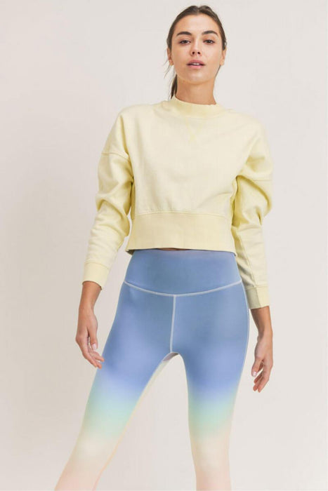Mineral-Washed Fleece Cropped Pullover lemonable MILK MONEY