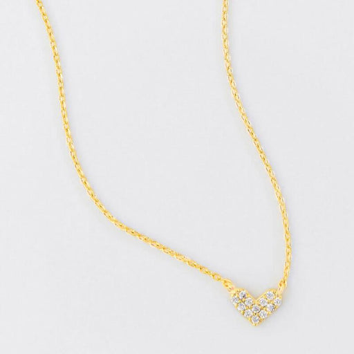 Mini Pave Heart Charm Necklace gold MILK MONEY