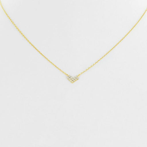 Mini Pave Heart Charm Necklace gold front MILK MONEY