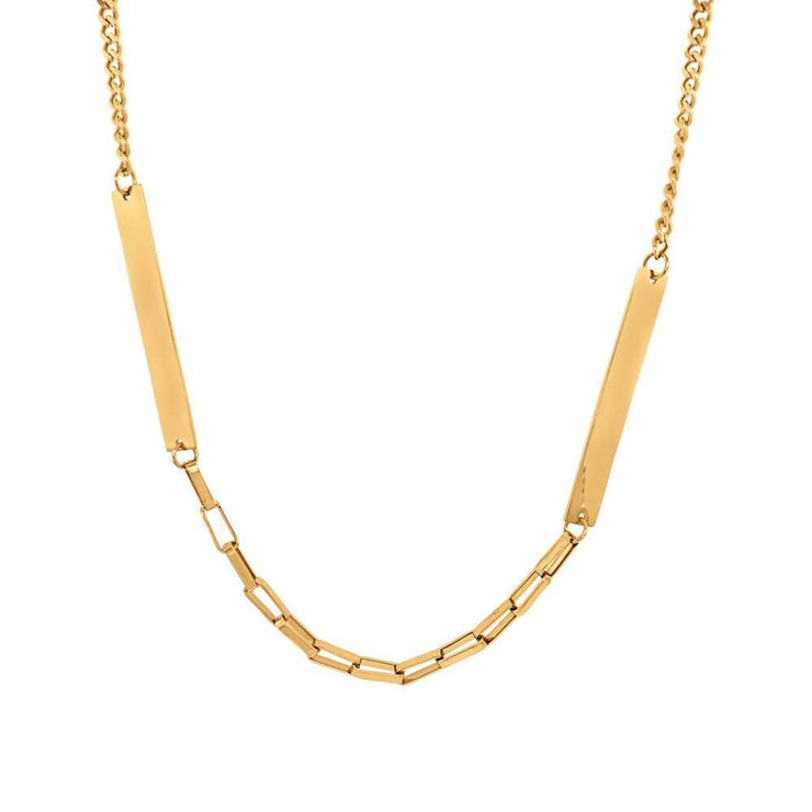 Mixed Chain Layering Necklace Gold - MILK MONEY