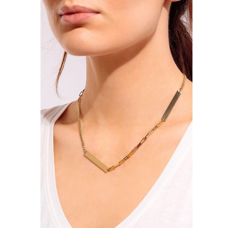 Mixed Chain Layering Necklace Gold Model - MILK MONEY