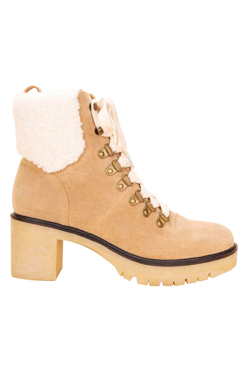 Monroe Shearling Military Bootie khaki side MILK MONEY
