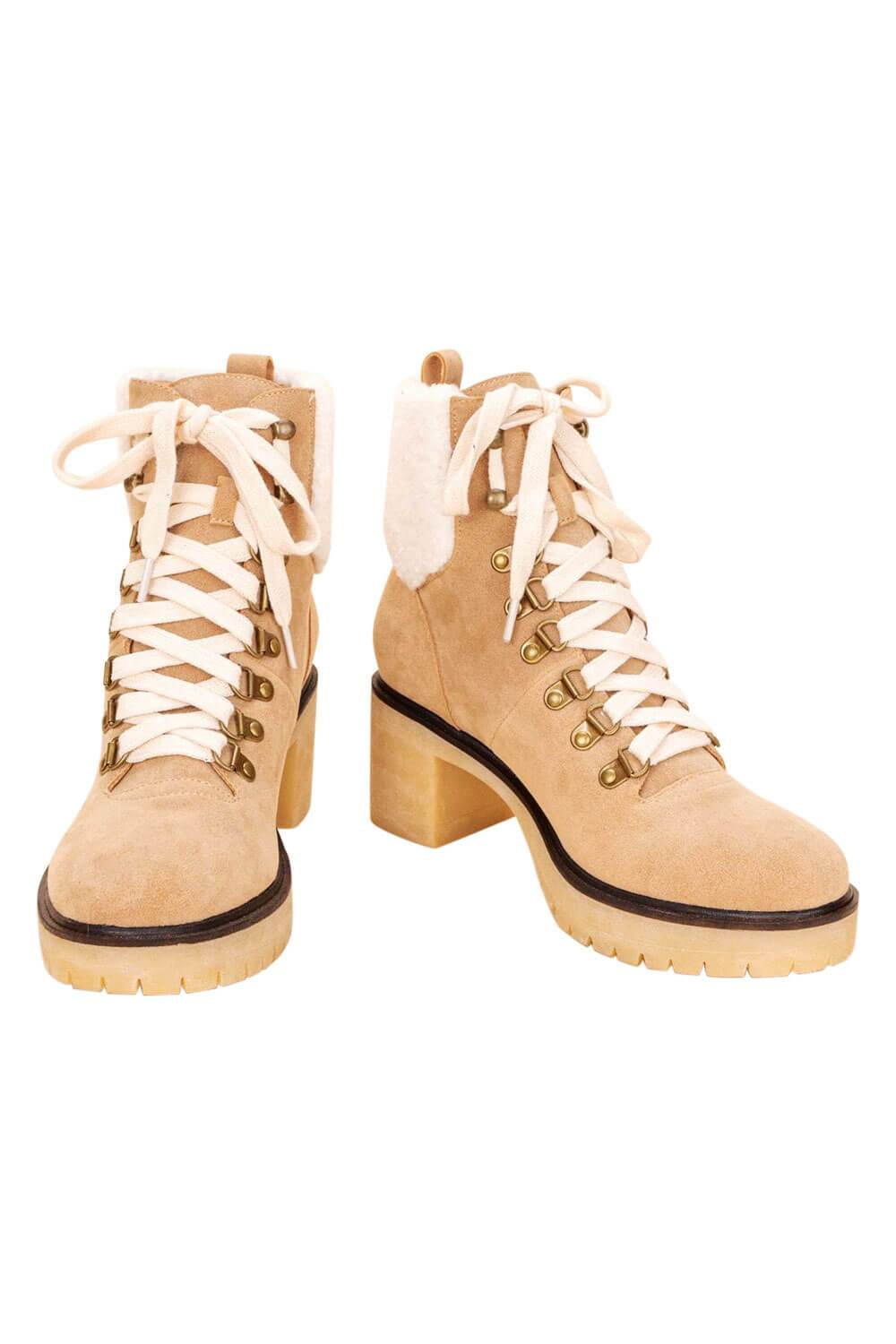 Monroe Shearling Military Bootie khaki MILK MONEY