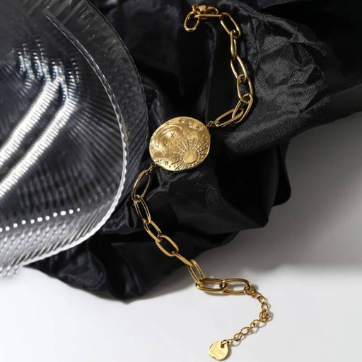 Moon and Star Pendant Bracelet gold lifestyle MILK MONEY