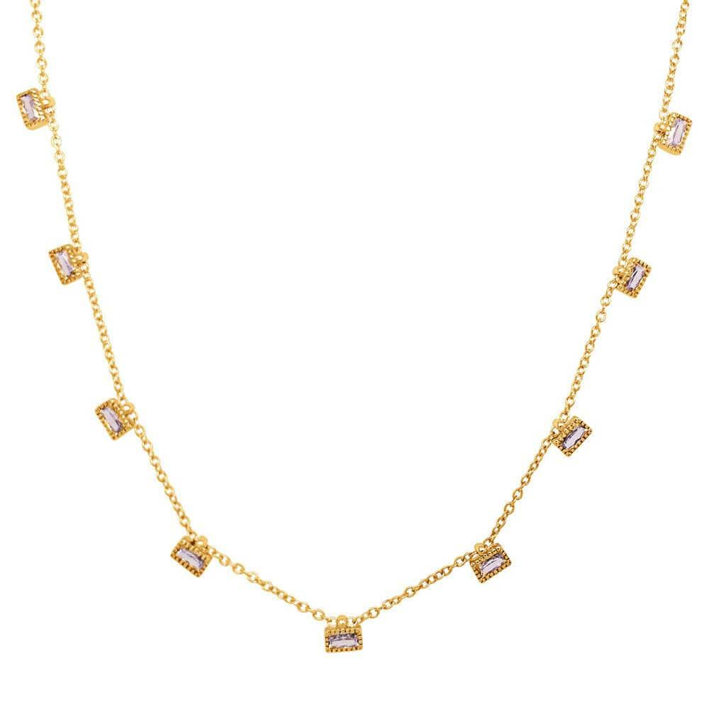 Multi Baguette Layering Necklace Gold - MILK MONEY