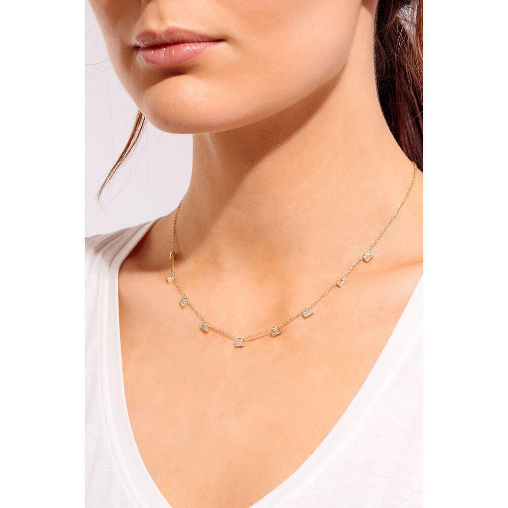 Multi Baguette Layering Necklace Gold Model - MILK MONEY
