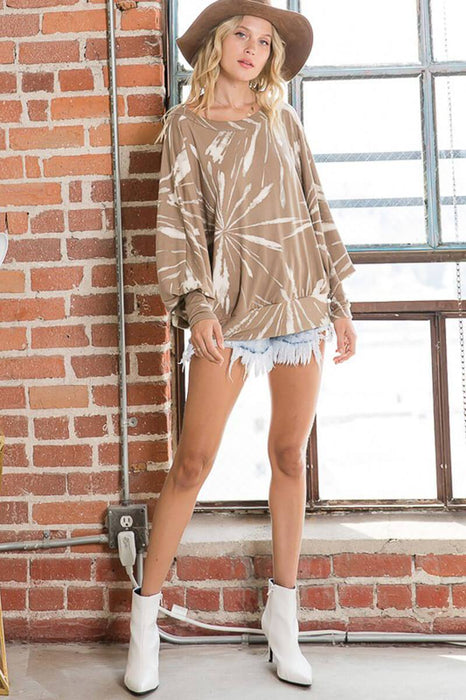 Multi Print Dolman Long Sleeves Round Neck Top taupe front MILK MONEY
