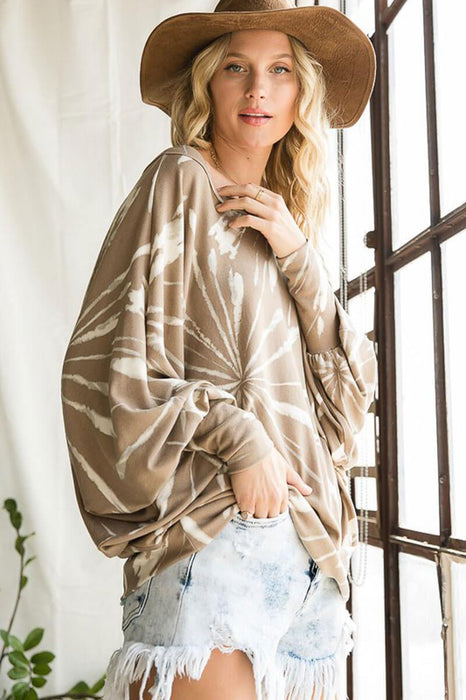 Multi Print Dolman Long Sleeves Round Neck Top taupe MILK MONEY
