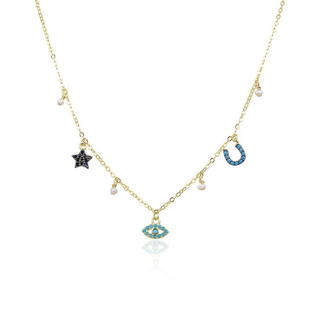 Multi Charm Pavé Necklace  Gold with Pearl - MILK MONEY