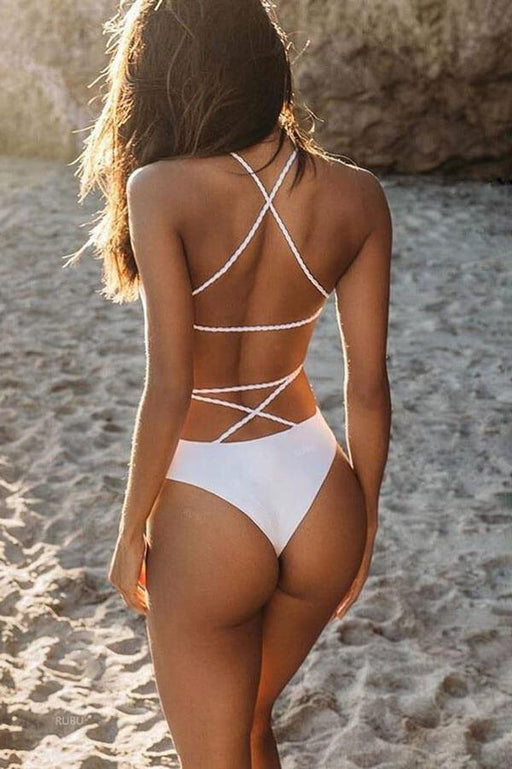 Women's Navagio Strappy One Piece Swimsuit white back | MILK MONEY | milkmoney.co