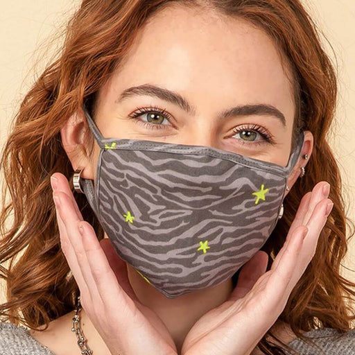 Neon Zebra Fashion Face Mask grey model MILK MONEY