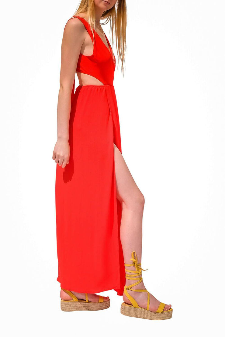 Night Out Cut Out Dress Red side - MILK MONEY