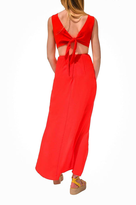 Night Out Cut Out Dress Red Back - MILK MONEY