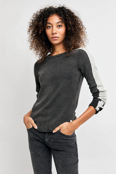 Free People Tasha Thermal black beauty front MILK MONEY